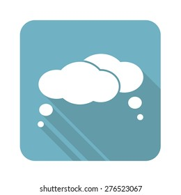 Square icon with two thought clouds, isolated on white