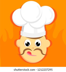 Square illustration of face of chef with moustache on orange background with fire. Flat vector.