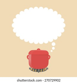 Square image of red pastel pot on the flame. Big copy space for your text above.