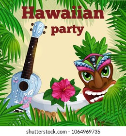 A square invitation card for an Hawaiian party. Frame of palm leaves, ukulele ukulele, drum, totem totake and pink hibiscus. Vector illustration.