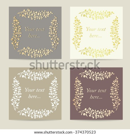 square invitations set vintage cards collection stock vector