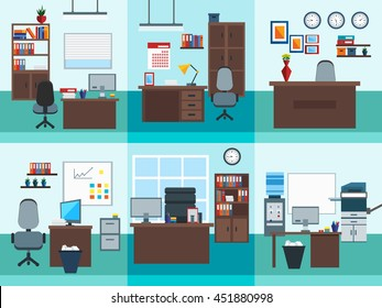 Square isolated office interior icon set different types of offices and furniture in them vector illustration