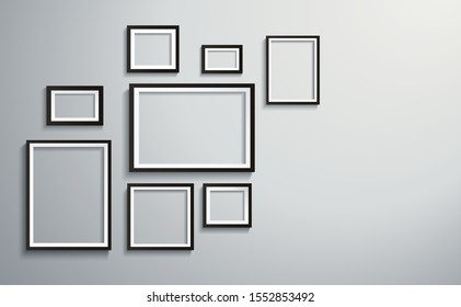 square isolated picture frame on wall vector illustration EPS10
