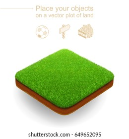 Square isometric lawn with a dense green grass and a brown cut of ground. Plot of land floats above a white background. Useful like a realistic natural place for the any advertised objects. 3D style.