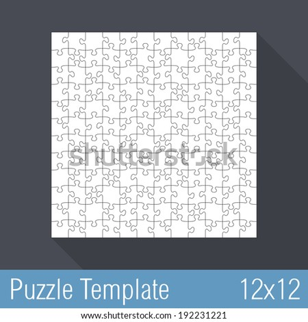 Square Jigsaw Puzzle Template 12x12 Pieces Vector Eps10 Illustration