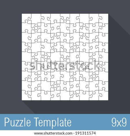 square jigsaw puzzle template 9 x 9 pieces stock vector royalty