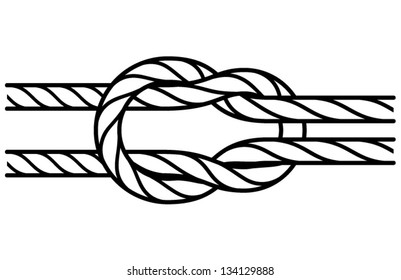 A square joining knot. Lineart. Strokes converted to shapes.