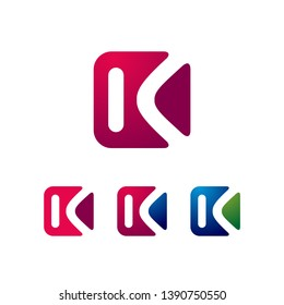 Square K Letter in Color Variations Business Logo Template