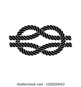 Square knot silhouette, isolated on white background.
