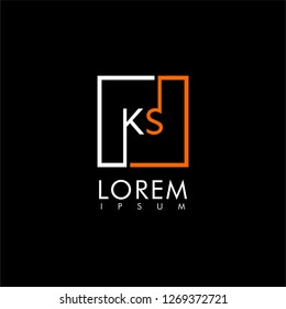 Square KS logo letter modern smart design concept