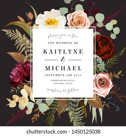 Square label dark frame arranged from leaves and flowers. Rust orange rose, peony, ranunculus, burgundy astilbe, fern, eucalyptus vector design. Masterpiece style. Autumn card. Isolated and editable