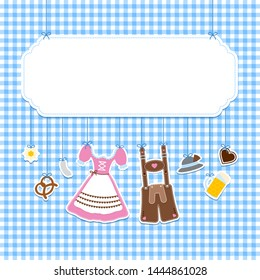 Square Label Hanging Oktoberfest Icons Check Pattern Background