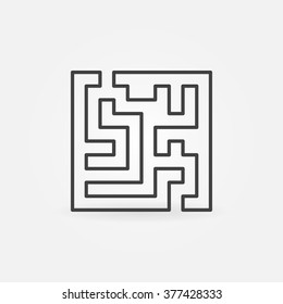 Square labyrinth icon - vector minimal maze or labyrinth outline symbol