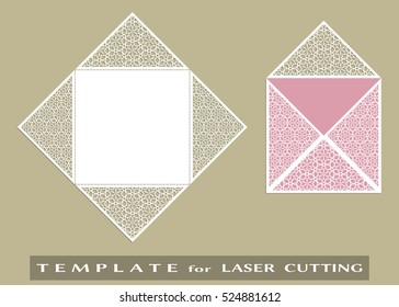 Square Laser Cut Envelope Template Vector Openwork Filigree For Wedding Invitation Or Greeting Card
