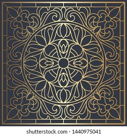 Square laser cut panel design. Ornate vintage vector border template for laser cutting, stained glass, glass etching, sandblasting, wood carving, cardmaking, wedding invitations.