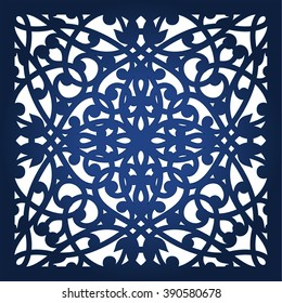 Square laser cut panel template. Lazer cut ornamental card or panel. Filigree cutout pattern background for laser cutting. Kirigami pattern.