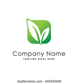 square leaf nature logo template