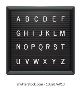 Square letter board with white plastic letters. Black plastic frame for messages, quotes or mugshot. Universal advertising mockup for banner, poster, menu or sign.