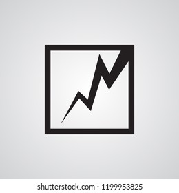 Square with lightning for illustration of earthquake, crack, destruction, erosion. Carved silhouette flat icon, simple vector design.