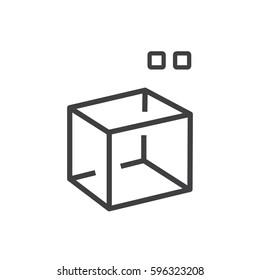 square Line Style 3D print icon