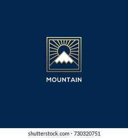 Square linear mountain and sun logo. Luxury geometric nature, hill, snow peak symbol.