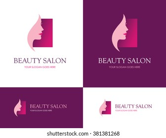 Square logo for beauty salon, face and skin care product, cosmetics, makeup or spa center with beautiful woman profile
