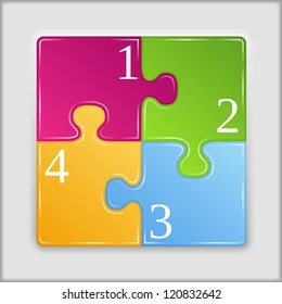Square made of puzzle pieces with numbers, vector eps10 illustration