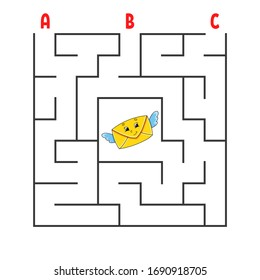 Square maze. Game for kids. Puzzle for children. Cartoon character envelope. Labyrinth conundrum. Color vector illustration. Find the right path. The development of logical and spatial thinking.