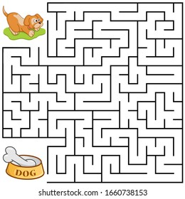 Square maze for kids with cartoon Dog. Find right way to the Bone. Entry and exit. Puzzle Game with answer. Learning Labyrinth conundrum. Education worksheet. Activity page. Logic Games for kids.