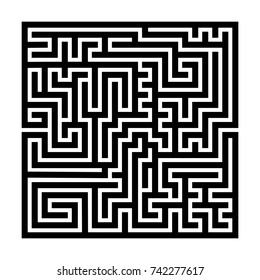 Square maze labyrinth. Black thick outline. Vector illustration