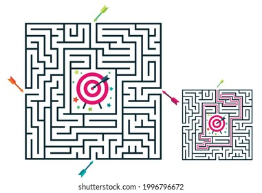 Square maze labyrinth game for kids. Labyrinth logic conundrum with target and arrows. 4 entrance and one right way to go. Vector flat illustration isolated on white background.