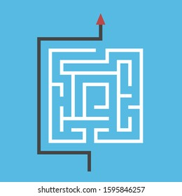 Square maze, way around it. Simplicity, simple efficient solution of dfficult problem, shortcut and creativity concept. Flat design. EPS 8 vector illustration, no transparency, no gradients