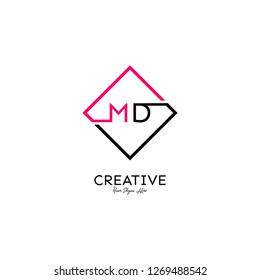 square md logo letter design concept in neon red and black color