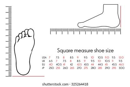 Square measure shoe size
