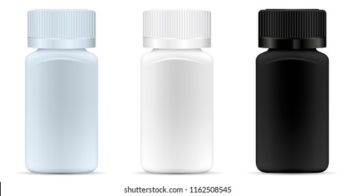 Square medicine bottles. Pharmaceutical containers for pills, capsules, drugs. Medical jar vector mockup. EPS10 illustration.