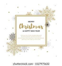 Square Merry Christmas and Happy New Year greeting card with beautiful golden and black snowflakes on white background. Christmas design for banners, posters, massages, announcements. Space for text