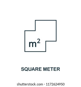 Square Meter icon. Simple element illustration. Square Meter outline icon design from real estate collection. Web design, apps, software and print usage.
