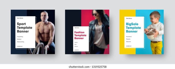 Square modern vector banners templates for social networks with place for photo and rectangle for headline. Universal design for sports, fashion, sales, business. Set