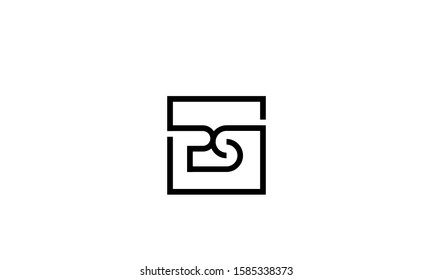 Square monogram Alphabet letters PS,SP,P and S logo