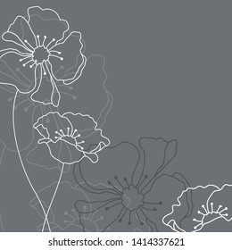 Square Mourning Card Grey Flowers