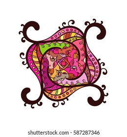 Square multicolored mandala, Isolated design element, Vector illustration