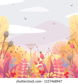 Square nature background with trees, colorful leaves, dried grass and berries. Floral border with simple plants above autumn landscape. Vector flat fall foliage decoration.