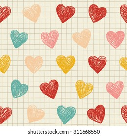 Square note paper sheet with squares and hearts.