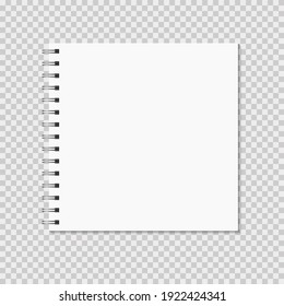 Square notebook mock up on transparent background. Blank pages, copybook with metal spiral template. Realistic closed notebook vector illustration.