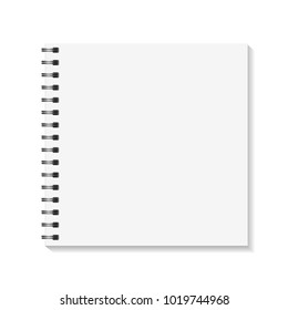 Square Notebook mockup. Empty pages book with binder metal spiral template. Isolated on white background. Vector illustration