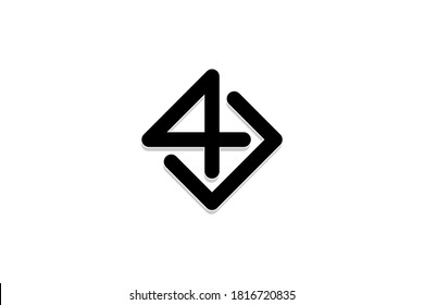 Square number 4 logo, or letter 4U logo design concept, modern elegant and creative logo, simple and minimalist.