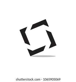 square object with shadow logo vector