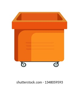 Square orange bucket illustration. Basket, home, cleaning. Houseware concept. Vector illustration can be used for topics like home, cleaning, houseware
