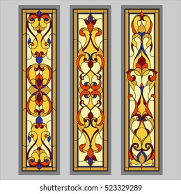Square ornament colorfull.  Stained glass. Vector.