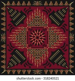 square ornamental contemporary thai tattoo pattern